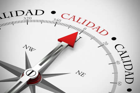 """Arrow from a compass points towards the Spanish word """"Calidad"""" (Quality) (3d rendering)"""