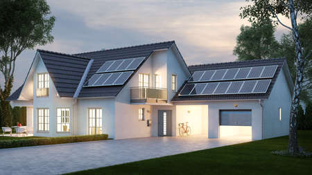 House with bright lighting in the evening in front of the sky in summer (3D Rendering)