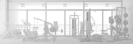 CAD planning of fitness center in white as a 3D rendering