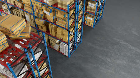 Full warehouse with many boxes of mail order from above (3D rendering)