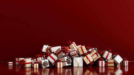 Big pile of gifts for Christmas as headers background (3D rendering)