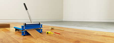 Laminate cutter for laminate laying during renovation in an empty room (3D rendering) Фото со стока