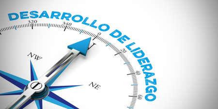 Compass arrow points toward Spanish slogan
