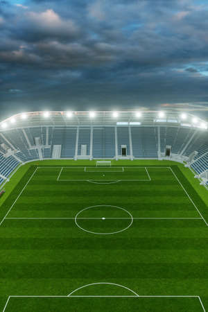 High angle view of an empty football stadium with evening sky in the background (3D Rendering) Фото со стока