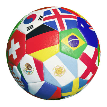 Colorful football with many flags of soccer match 2018 participants (3D rendering)