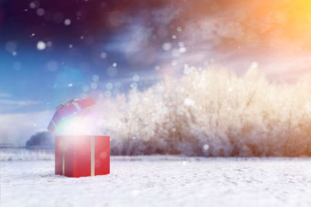 Surprise as a gift for Christmas in wintry nature (3D rendering) Фото со стока