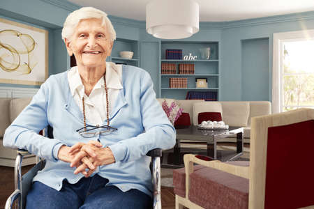 Happy elderly woman in wheelchair at home in the living room (3d rendering)