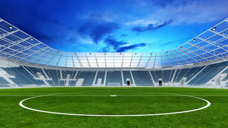 Empty soccer stadium in the evening with lawn and center circle (3D Rendering)