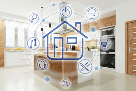 Modern Smart Home interface in a bright kitchen (3D rendering)