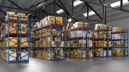 Warehouse by mail order company or freight forwarder with many shelves full of goods (3d rendering)