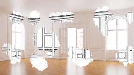 Planning of renovation and renovation of an old apartment with salon (3D Rendering)