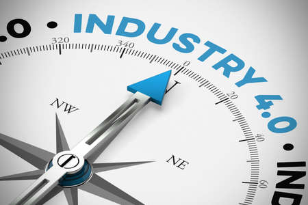 Arrow from a compass points to the word Industry 4.0 (3D rendering)