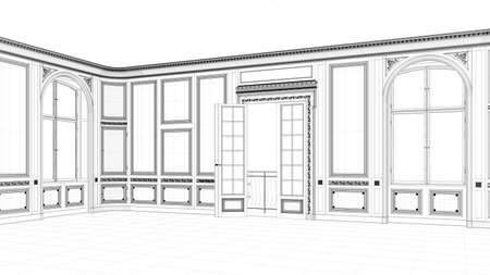 CAD planning of a separate room with stucco and balcony (3d rendering)
