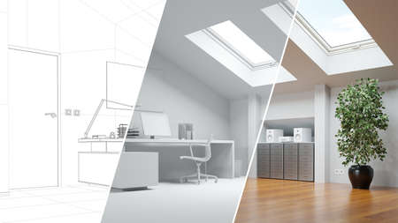 CAD room planner for loft office from line drawing to 3D rendering (3D rendering)