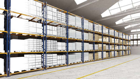 Warehouse with cargo on shelves as a progression from CAD to 3D rendering (3D rendering)
