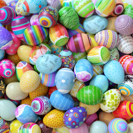 Many colorfully decorated Easter eggs on a heap at Easter (3d rendering) Фото со стока