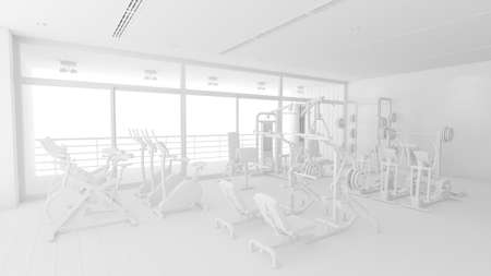Gym in the fitness center with various equipment all in white (3d rendering)