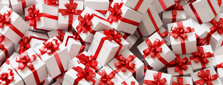At Christmas many white presents with a red ribbon on a pile (3d rendering)