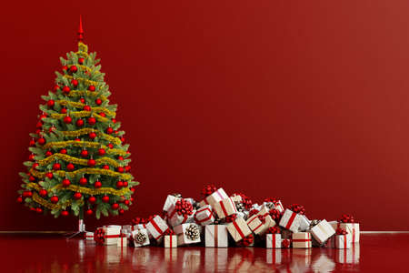 Decorated Christmas tree beside many presents for Christmas (3D Rendering)