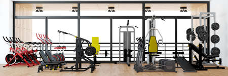 Panorama of fitness center with equipment for strength training (3d rendering) Фото со стока