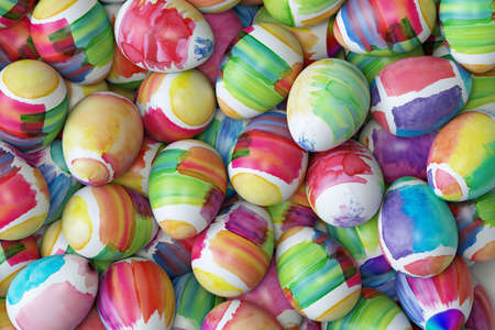 Many watercolor painted Easter eggs for Easter (3d rendering)
