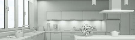 White 3D CAD model of a modern kitchen (3D rendering)