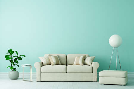 Sofa in old building Living room with modern furnishings and space on the green wall for a canvas (3D Rendering)