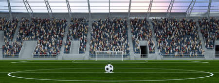 Football is ready for kickoff in the stadium on the center line (3D rendering)