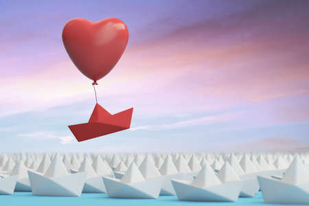Red Heart Balloon lifts origami boat on Valentine's Day from a group of paper boats