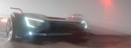 Modern sports car or race car with glowing headlights