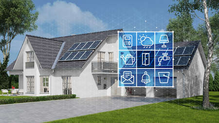 Exterior of house with garden, garage and solar system with smart home technology interface for control (3d rendering)