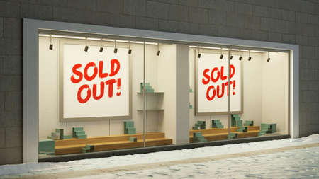 Empty Sold Out Showcase Retail With Sold Out Sign (3D Rendering) Zdjęcie Seryjne