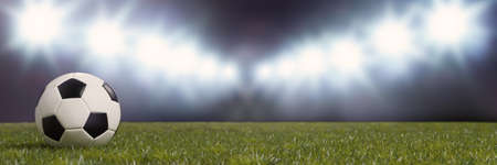 Soccer ball lies on the green grass of a football stadium with illumination in the background (3D rendering) Stock fotó