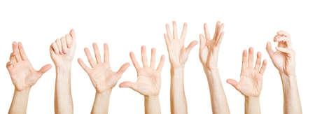 Many different hands reach up desperately Foto de archivo