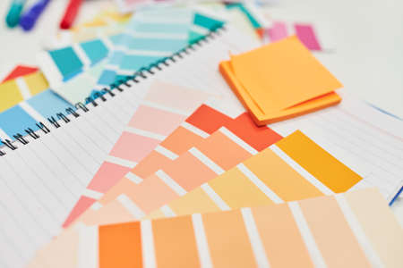 Materials and paper for color design and graphic design 免版税图像