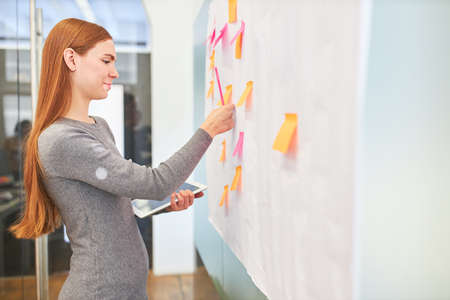 Student or trainee evaluating ideas during brainstorming
