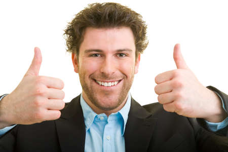Young man in business attire shows both thumbs up Stock fotó