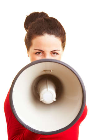 Young woman speaking in a big megaphone