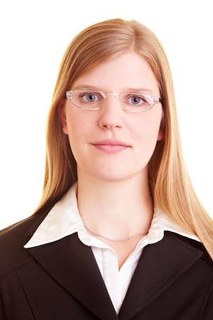 Blonde businesswoman wears glasses