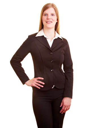 Happy businesswoman looking to camera