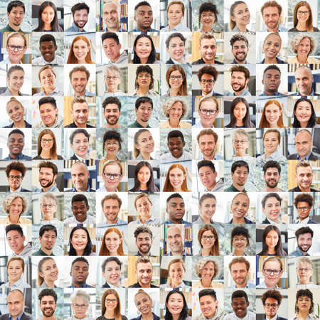 Portrait collage of business people as a team and work colleagues