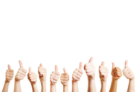 Lots of hands with thumbs up sign as a motivation concept