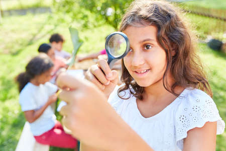 Girl in summer biology course looks at leaf through magnifying glass and learns about plants