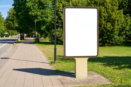 Blank White City Light Poster Mock-Up Template Next To Street And Sidewalk
