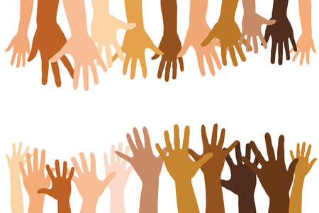 Many different open hands together as a team and community concept