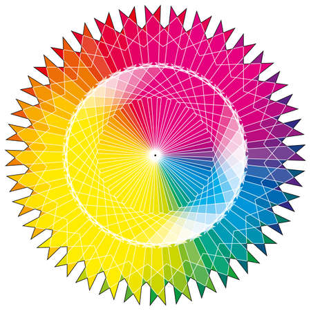 Sun color wheel and color wheel with swatch pattern 免版税图像