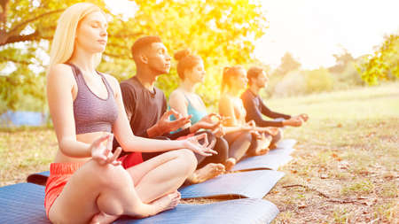 Group of people doing yoga in class together as fitness training in nature