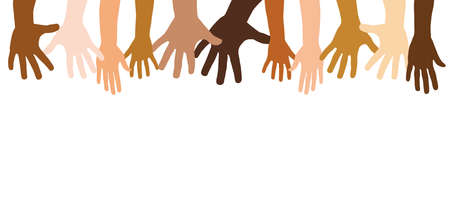 Diverse outstretched hands together as a team concept with copy space