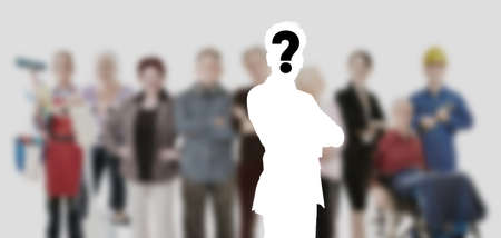 Applicants and employees wanted for job offer in front of a blurred group of people 免版税图像