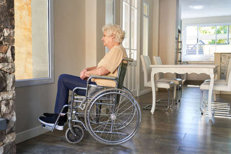 Elderly woman with paraplegia in a wheelchair after a stroke at the window in the nursing home